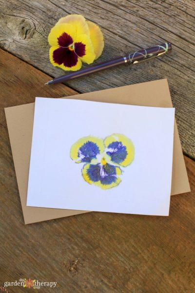 handmade flower print card