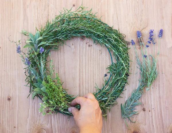 How to Make a Gorgeous Fresh Herb Wreath Step (1)