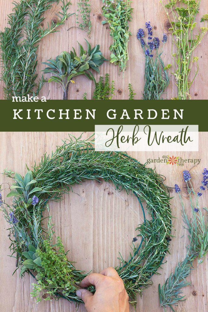 make a kitchen garden herb wreath