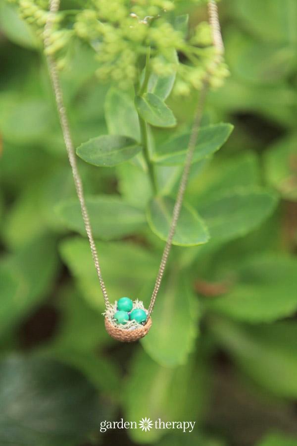 Make this acorn cap nest necklace