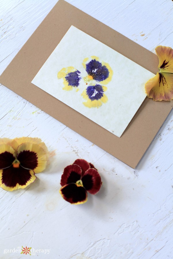 hammered flower print card with pansies