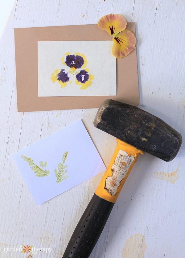 hammering flowers to make artful prints