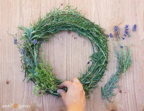making an herb wreath