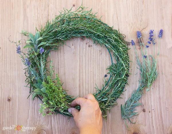 making an herb wreath