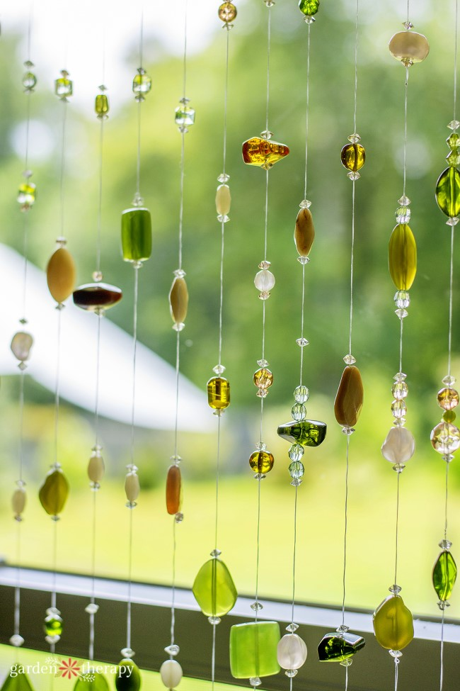 Gorgeous handmade beaded suncatcher close up