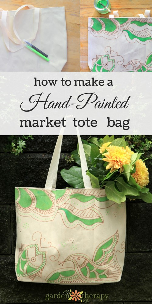 How to make a reusable hand-painted market tote bag that's WASHABLE!