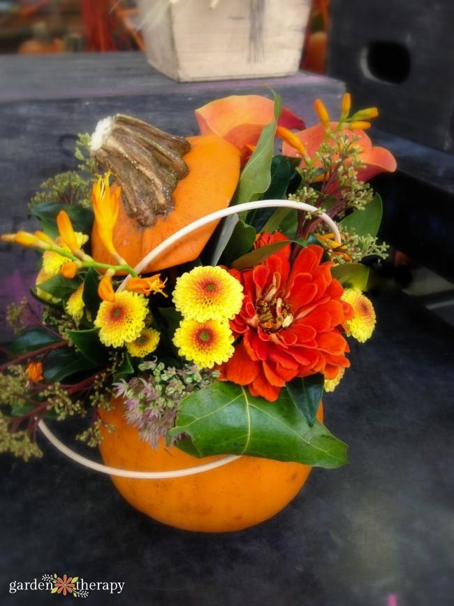 Pretty Pumpkin Flower Arrangement