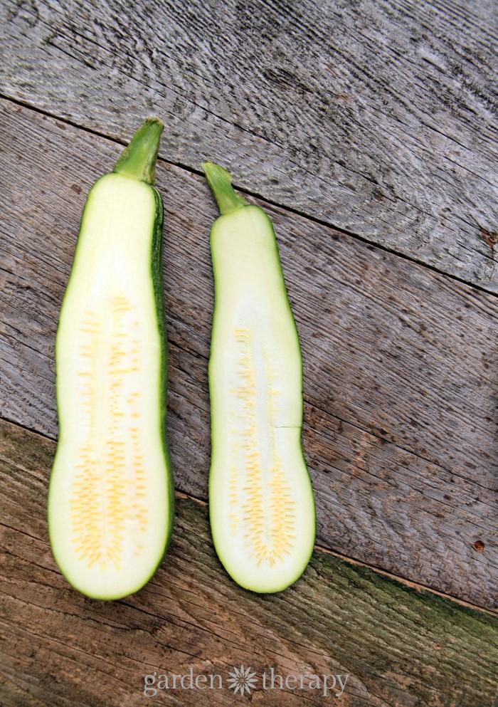 Slice zucchini with a mandolin