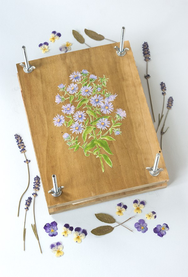handmade wooden flower and leaf press