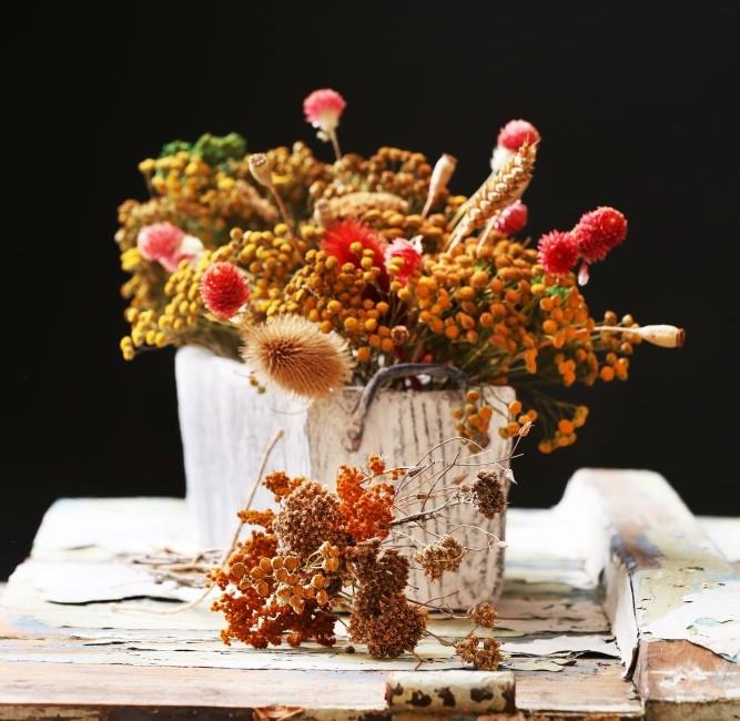 Modern dried flower arrangement in a vase