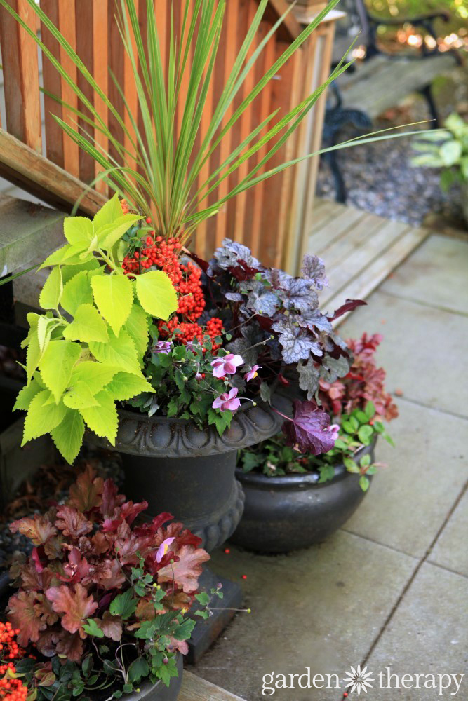 Made for the shade low maintenance fall planters bursting for Best low maintenance shade plants