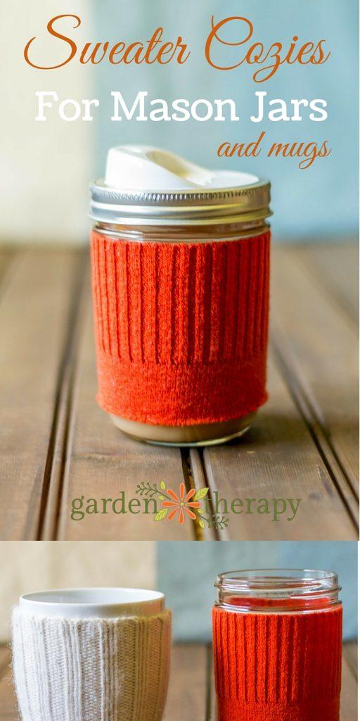 Make a DIY Sweater Cozy for Mason Jars and Mugs