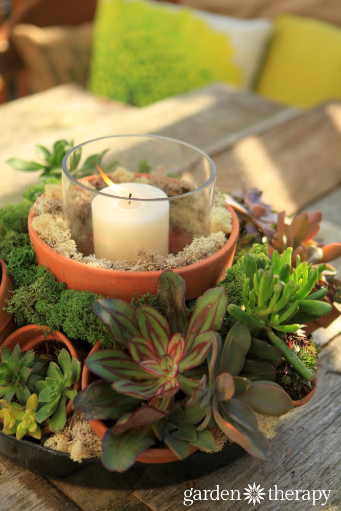 Make This Gorgeous Outdoor Centerpiece With Terracotta Pots Succulents And A Candle