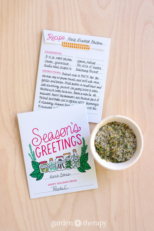 Seasons Greetings Printable Herb Packet and Recipe Gift Idea