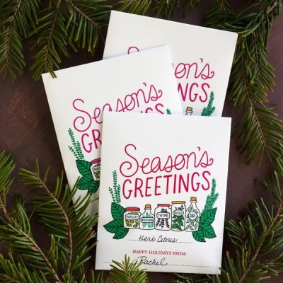 Season's Greetings! A Kitschy Printable Herb Packet Gift Idea