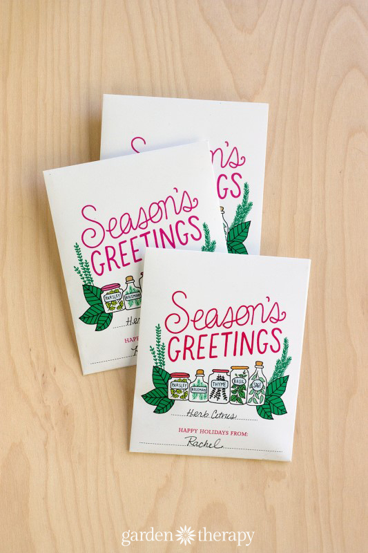 Seasons Greetings Printable Herb Packets and Recipe Cards