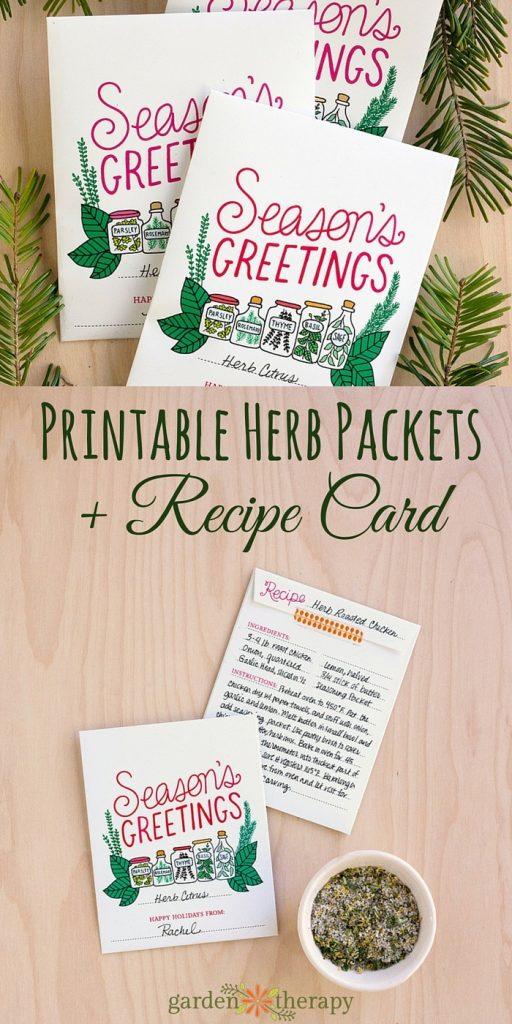Season's Greetings Printable Holiday Herb Card and Recipe Gift Idea