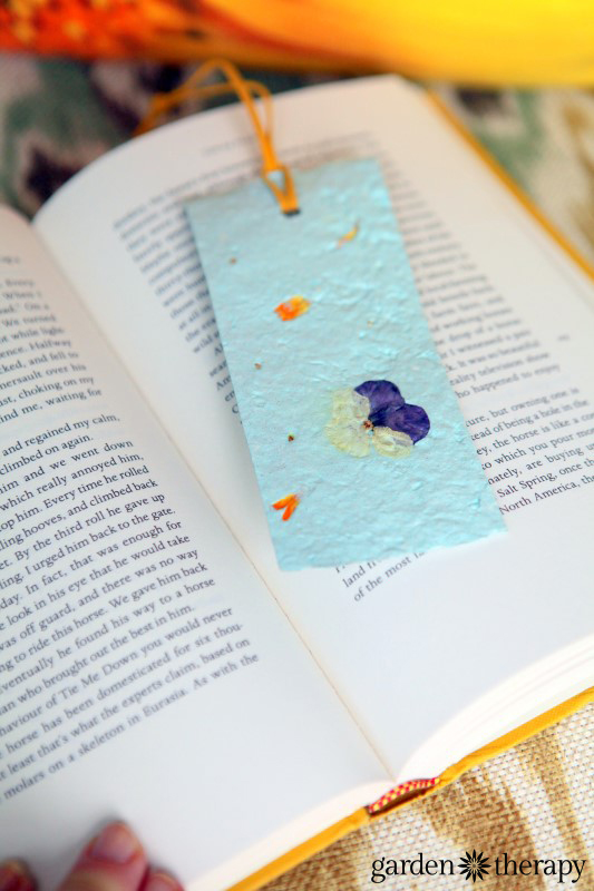 Seed paper book mark from the book Garden Made