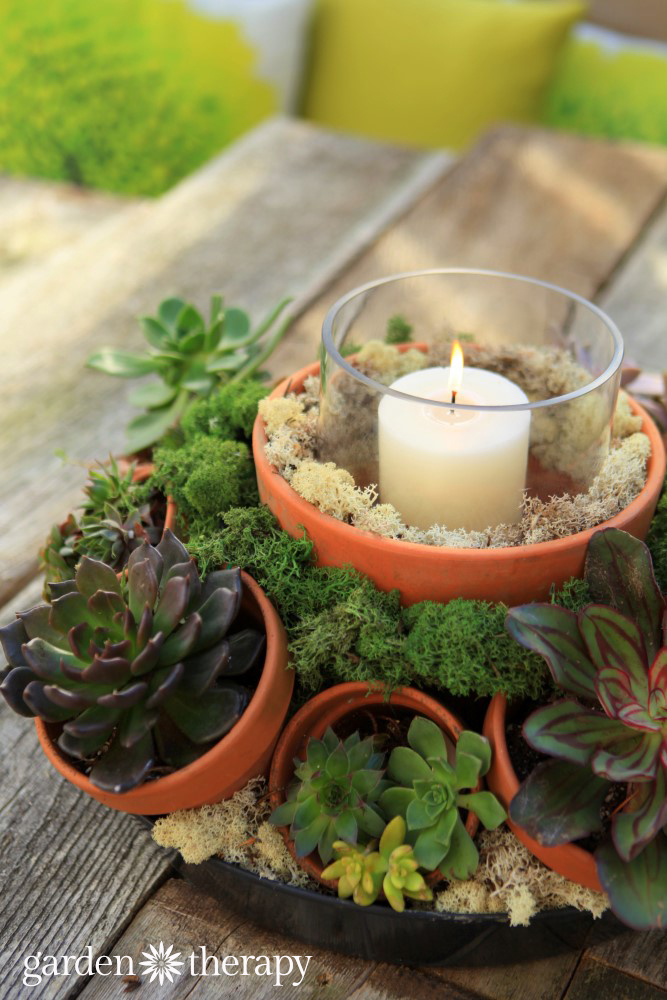 Use multiple pots and a hurricane candle for an outdoor centerpiece
