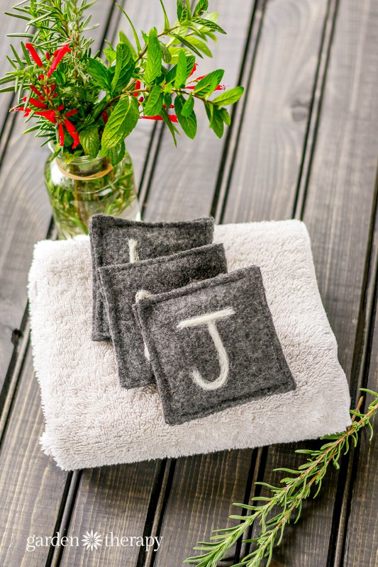 Felted drawer fresheners made with herbs and monogrammed