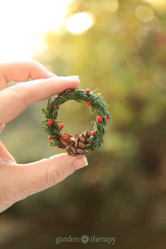 Finished Miniature Wreath With Real Evergreens Pinecones And Seed Heads