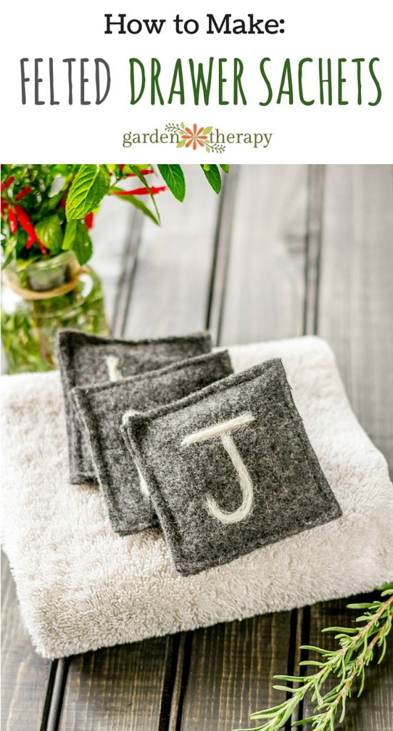 Keep clothes fresh with these gorgeous herbal drawer fresheners made of felted wool and monogrammmed for gifts