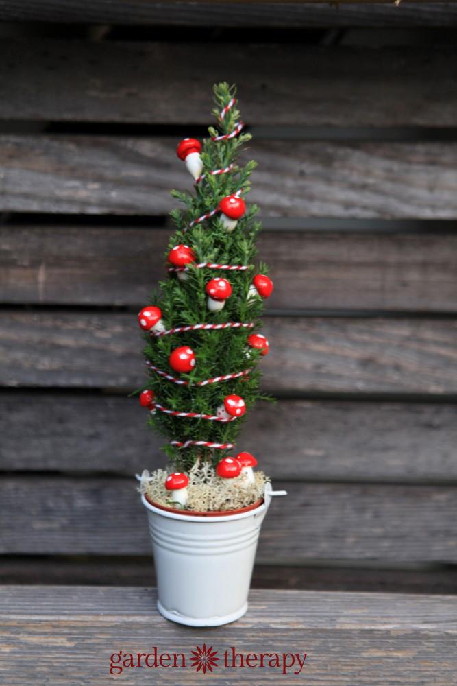 Miniature Mushroom Christmas Tree
