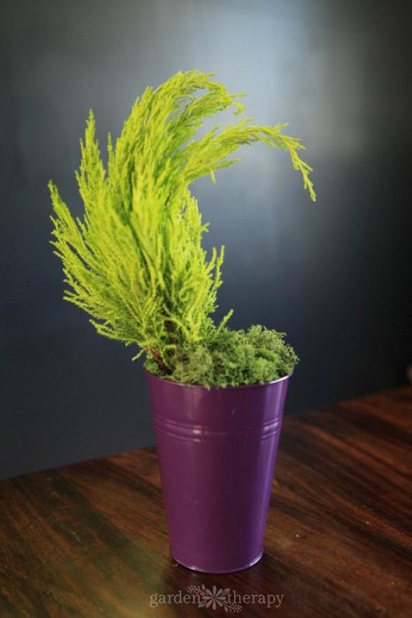 make a tiny grinch tree