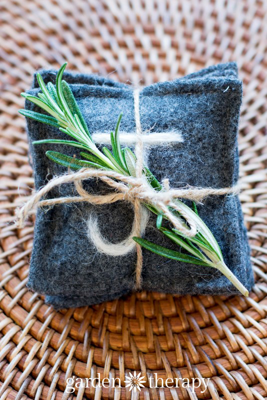 gift with twine and herb wrapping