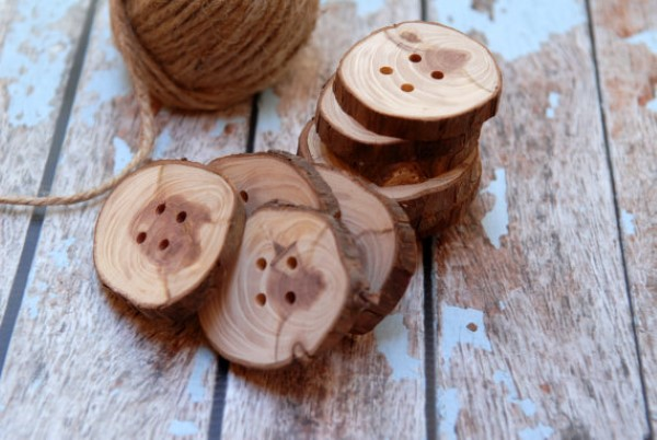 buttons made from discarded branches