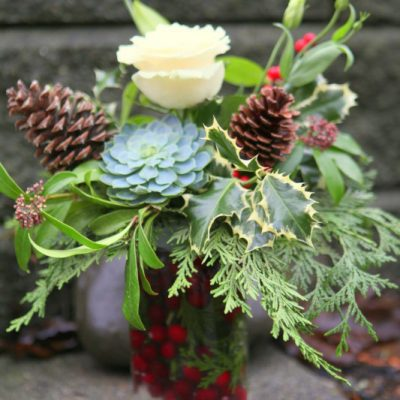 A Festively Frugal Holiday Flower Arrangement