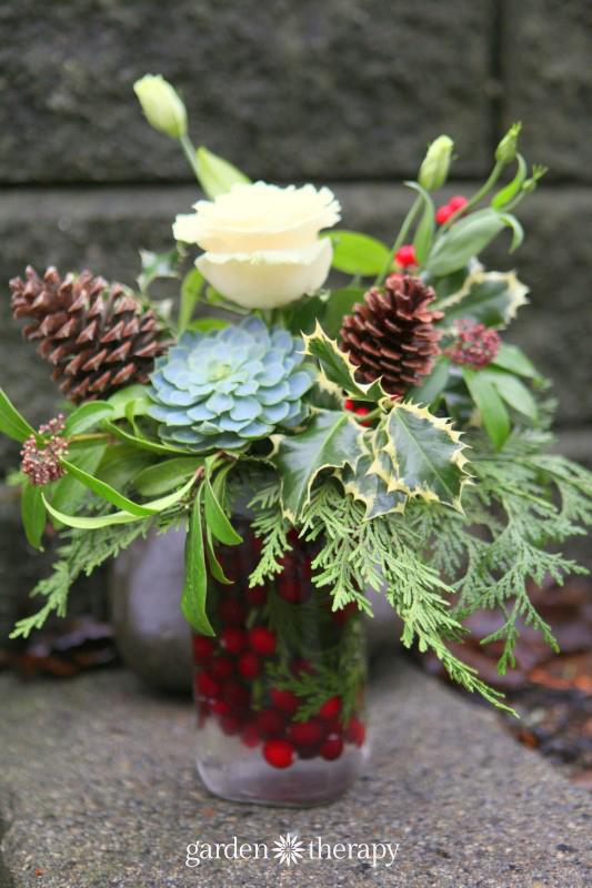 DIY Holiday Flower Arrangement Using A Handy Arranging Tool