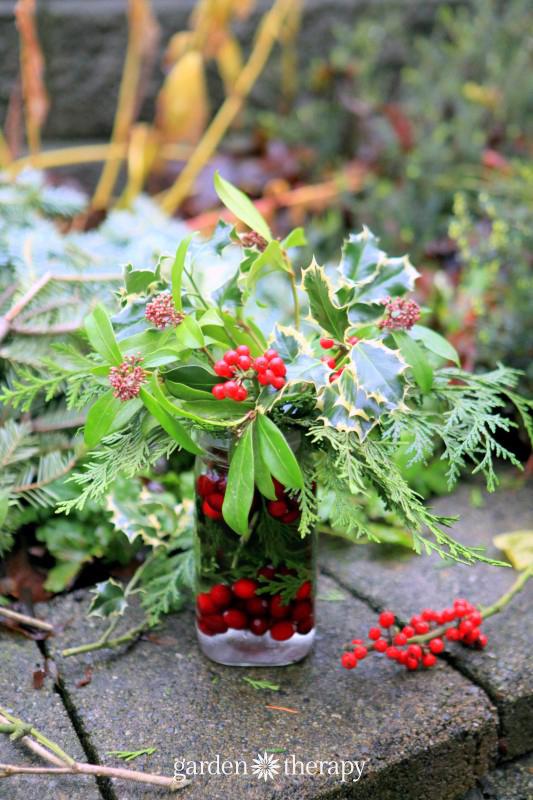 Designing a Mason Jar Flower Arrangement for Christmas