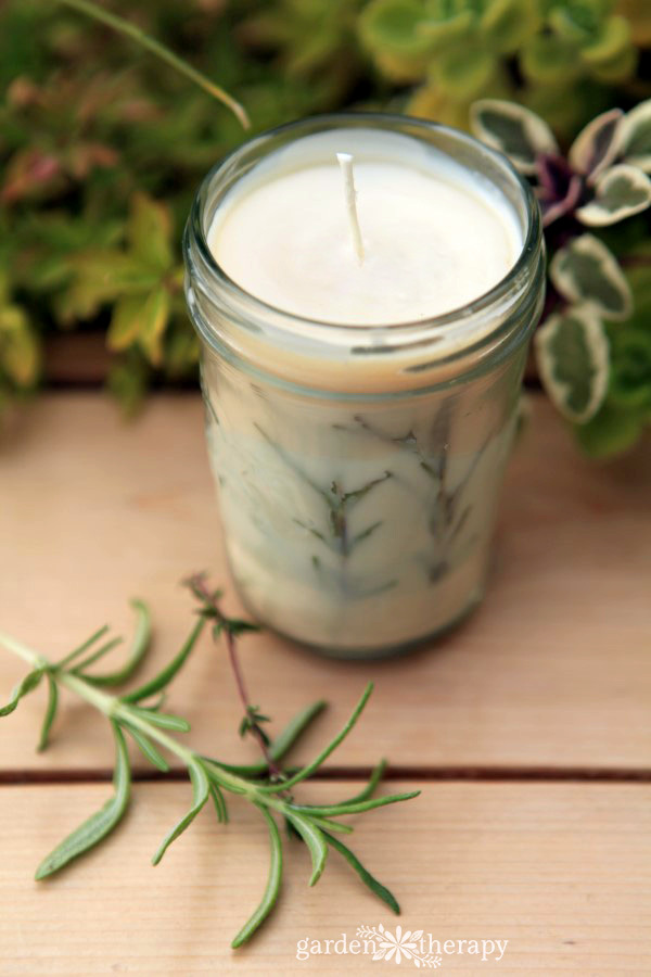 Gorgeous Mason Jar Candles with Pressed Garden Herbs and Evergreen Essential Oils