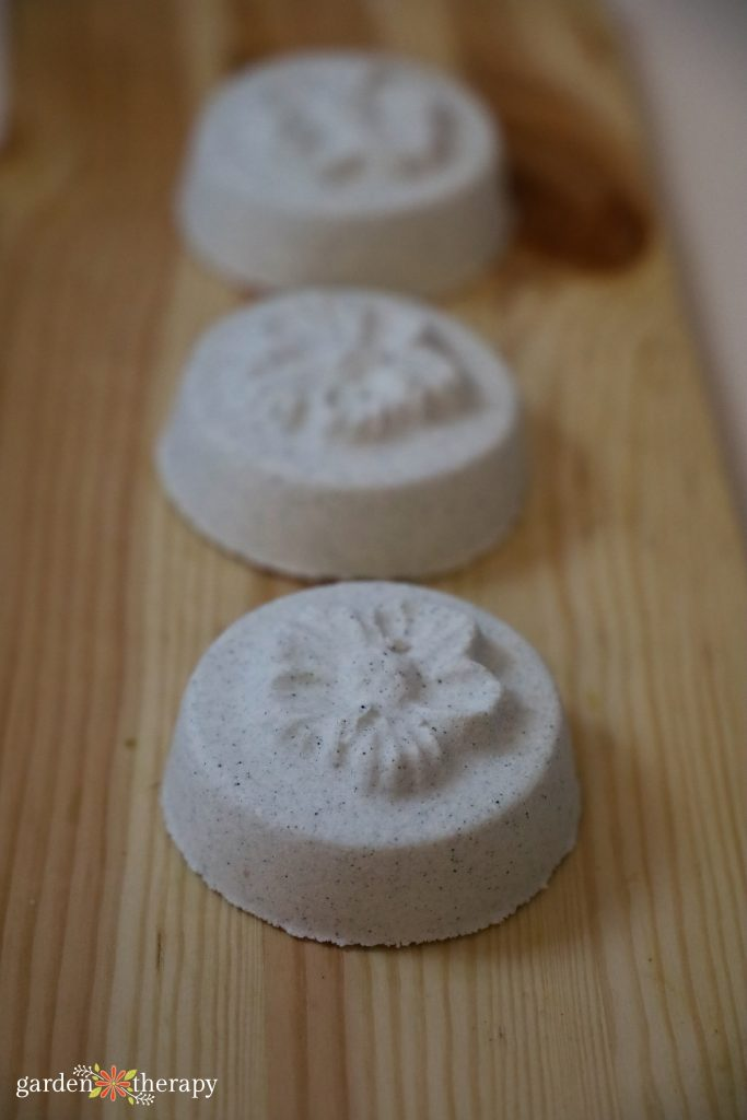 Eucalyptus shower steamers lined in a row,