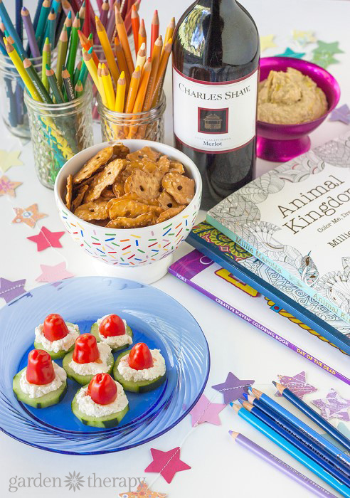 If you are looking for simple way to get creative with colleagues or to add some art therapy to your book club, here are some creative ideas for hosting a hip coloring party that trades in the sippy cup for a wine glass.