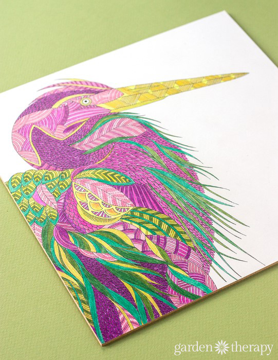 Beautiful finished coloring book image for display