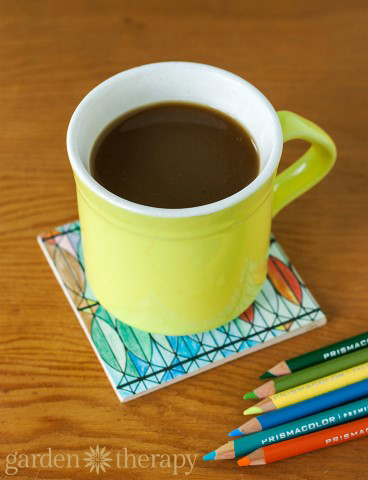 Coloring Page Coaster DIY 1