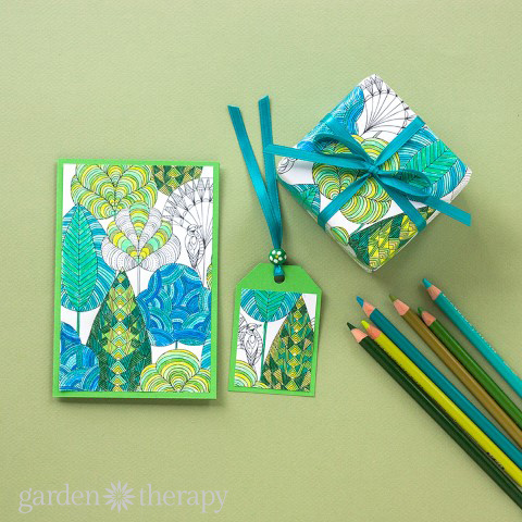 Coloring pages re-purposed as gift wrap and tags