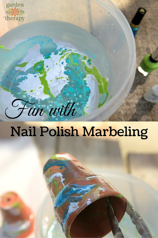 Crafty flower pot makeover with Nail Polish Marbeling