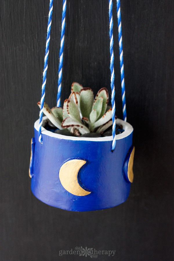 DIY Hanging Clay Planter Blue Moon