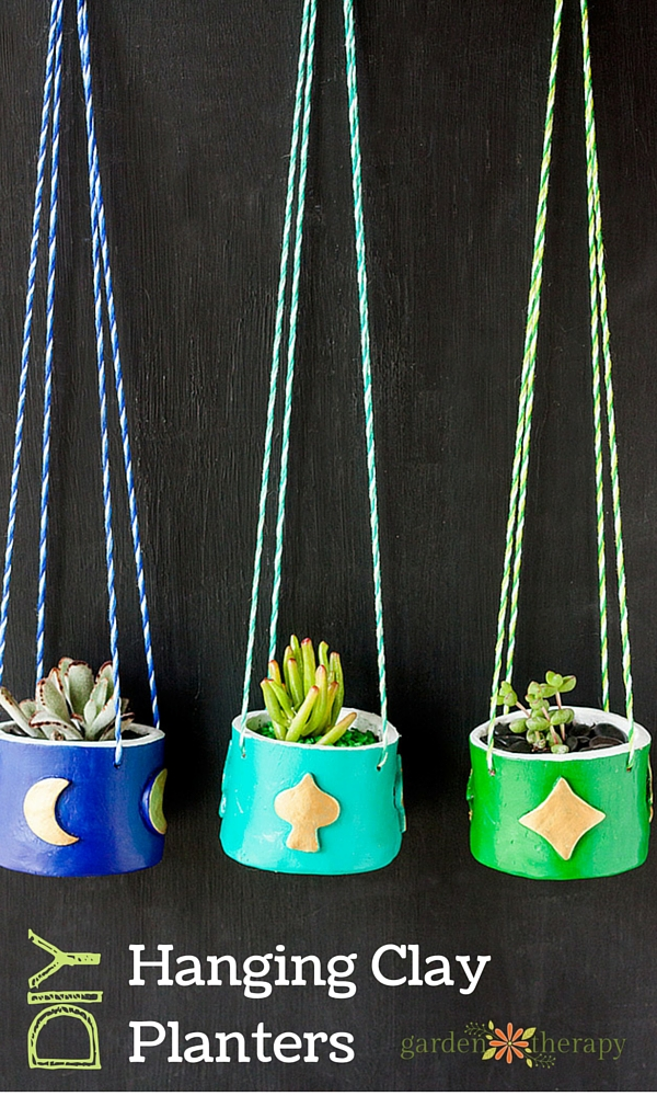 Easy and Fun to Make Hanging Clay Planters with Succulents