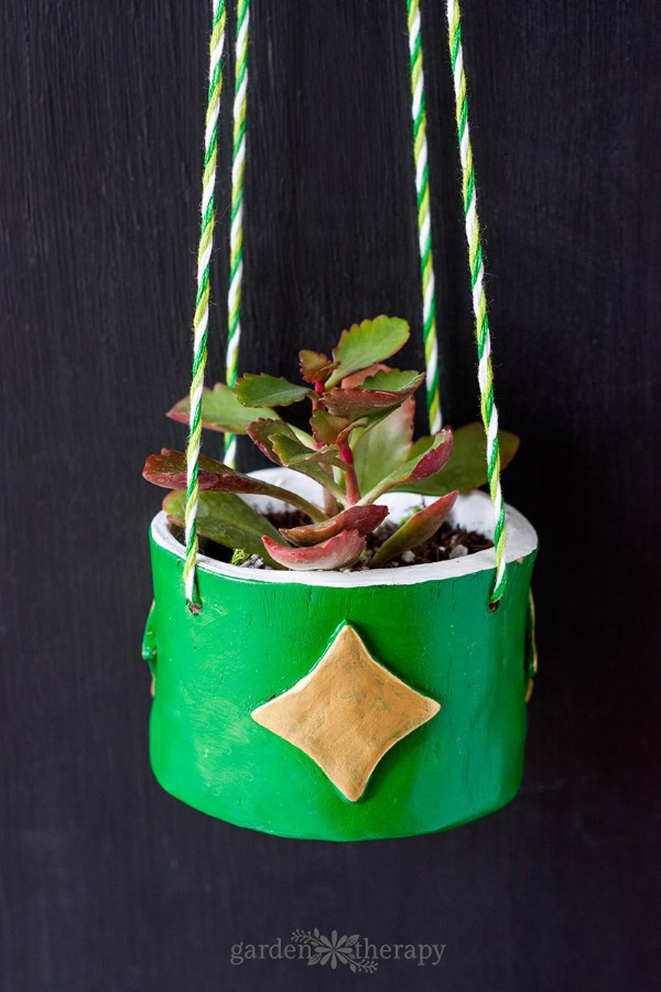 Finished Green DIY Clay Planter