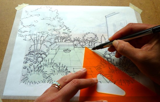 How to Create a Garden Perspective Drawing at Home Step (6)