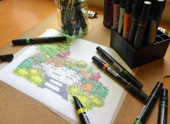 How to Create a Garden Perspective Drawing at Home Step (7)