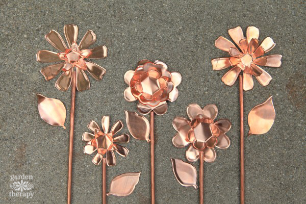 Copper Garden Art Flowers DIY Idea