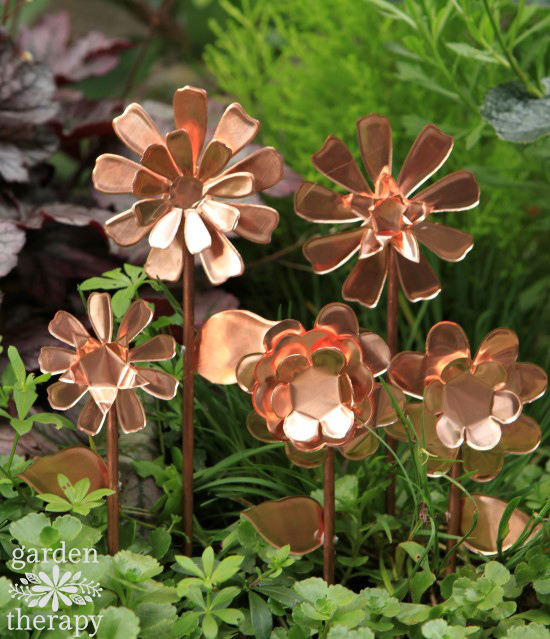Copper Garden Art Flowers DIY Project idea