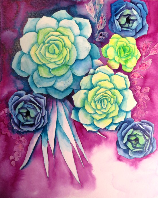 how to make succulent art with watercolor paint