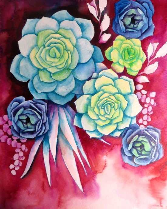 How to Paint Watercolor Succulents Step (11)