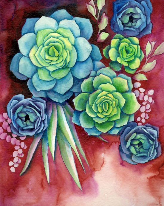 How to Paint Watercolor Succulents Step (12)